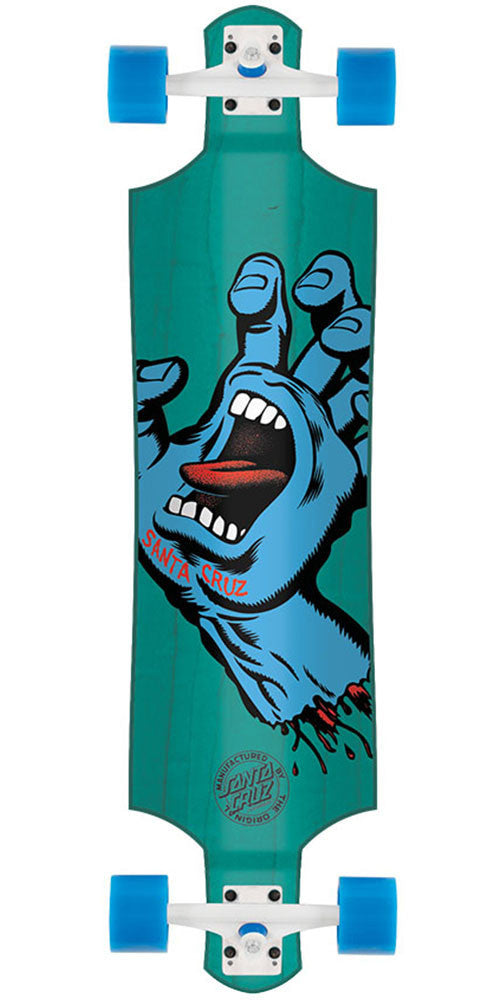 Santa Cruz Hand Drop Down Cruzer - Aqua - 10.0in x 40.0in - Complete Skateboard