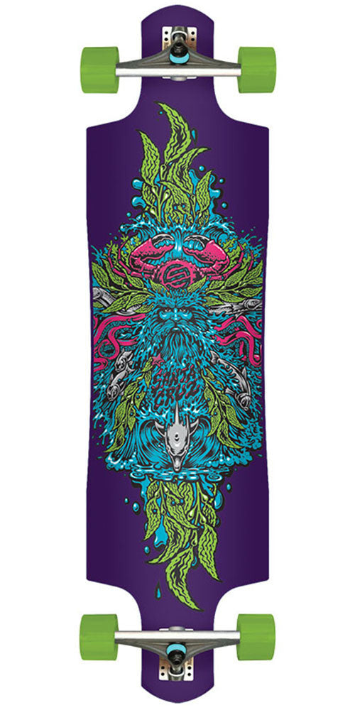 Santa Cruz Sea God Cruise Control Cruzer - Purple - 9.96in x 37.97in - Complete Skateboard