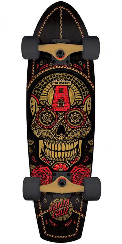 Santa Cruz Sugar Skull Street Shark Cruzer - Gold/Black - 8.8in x 30.97in - Complete Skateboard