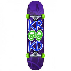 Krooked Stacked Eyes Mini - Purple  - 7.3in - Complete Skateboard