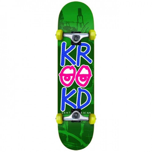 Krooked Stacked Eyes Medium - Green - 7.75in x29.3in - Complete Skateboard