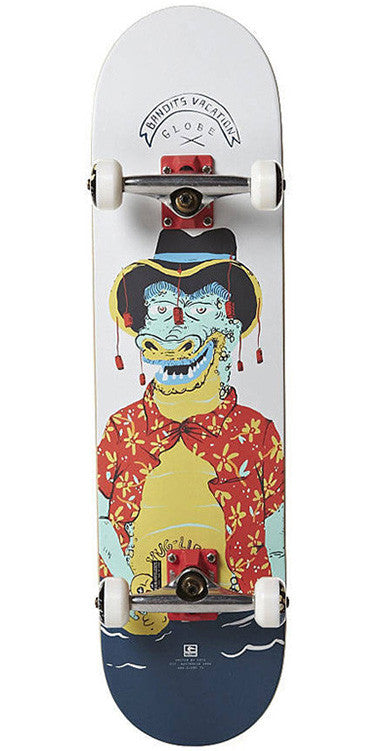 Globe Pool Party Croc - White/Blue/Red - 8.0in - Complete Skateboard