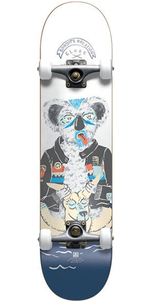 Globe Pool Party Koala - White/Blue - 7.75in x 31.5in - Complete Skateboard