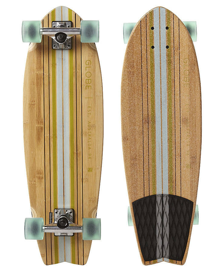 Globe Pin City Bamboo - Clear Water/Green - 9.25in x 30in - Complete Skateboard