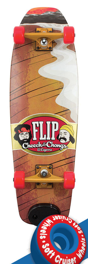 Flip El Cigarro Cruzer - Red/Brown - 9.09in x 29.10in - Complete Skateboard