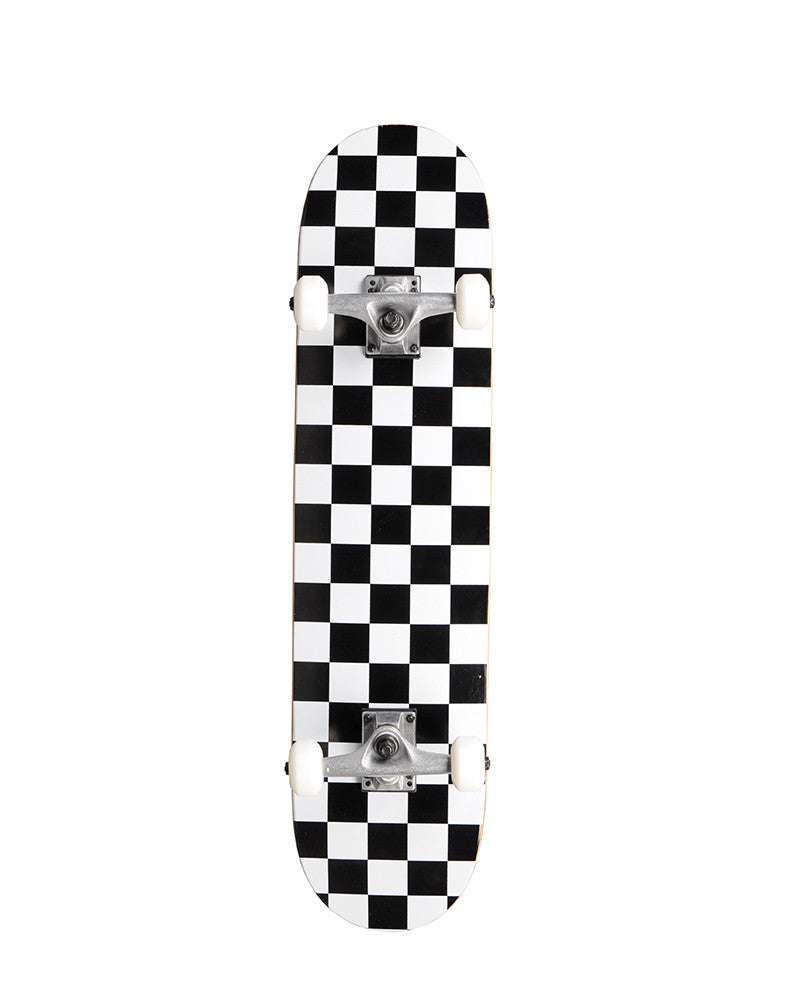 "Action Village 8.0"" White Checker - Complete Skateboard"