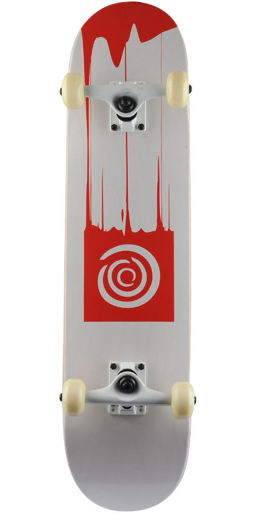 Blemished Action Village Drip - White/Red - 7.5in x 31.75in - Complete Skateboard