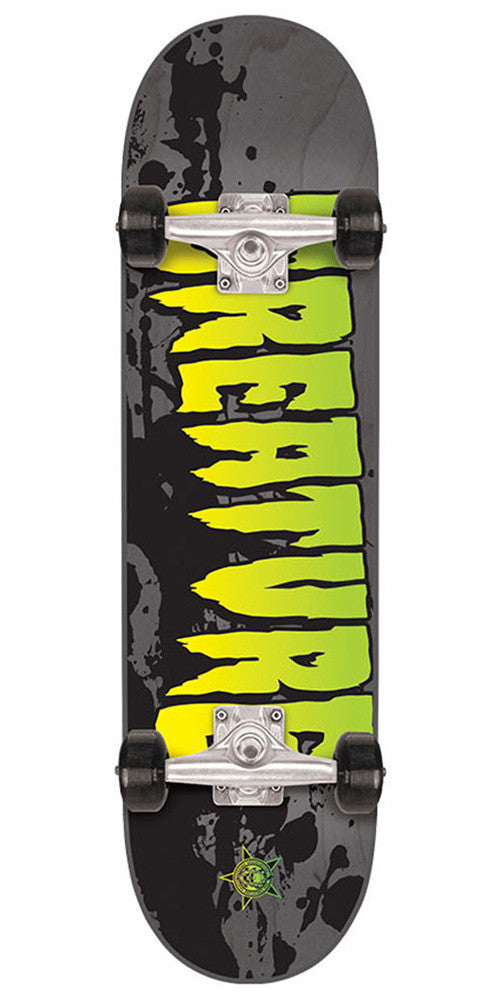 Creature Stained Regular Sk8 - Grey - 7.5in x 30.6in - Complete Skateboard