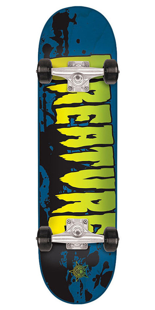 Creature Stained Mini Sk8 - Blue - 7.0in x 29.2in - Complete Skateboard
