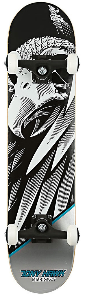 Birdhouse Hawk Falcon Mini - Black/Silver/White - 7.25 - Complete Skateboard