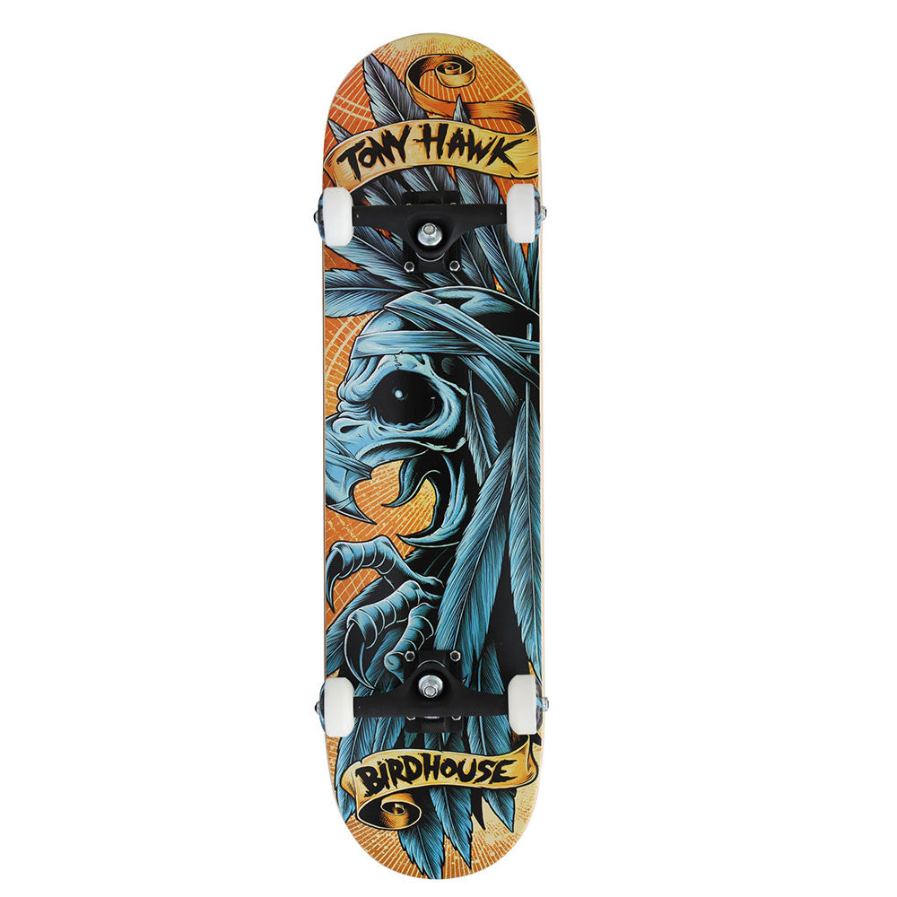 Birdhouse Tony Hawk Headdress - Orange/Blue - 8.0 - Complete Skateboard