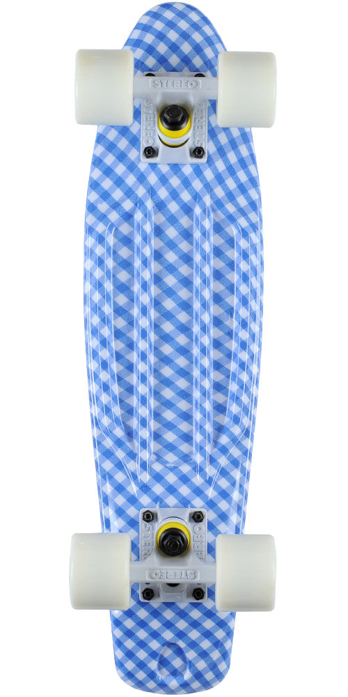 Stereo Vinyl Cruiser - Blue/White - 6in x 22.5in - Complete Skateboard