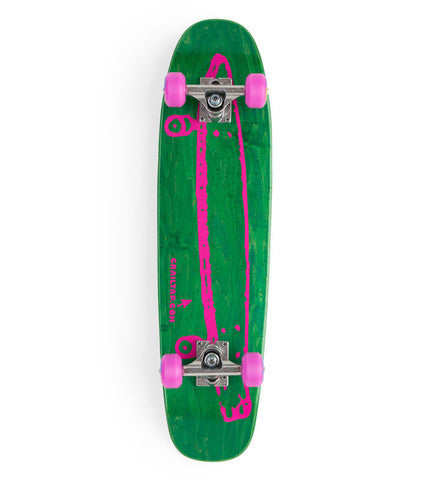 Crailtap Cruiser Small - Green/Pink - 7.4in x 29.3in - Complete Skateboard