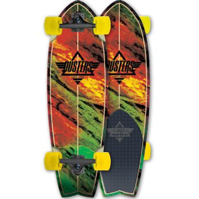 Dusters Kosher Cruiser w/ Tail Pad - Rasta - 9.3in x 30in - Complete Skateboard