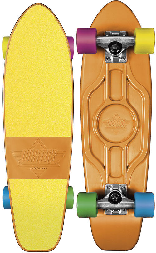 Dusters Mighty Cruiser - Orange/Yellow - 7.25in x 25in - Complete Skateboard