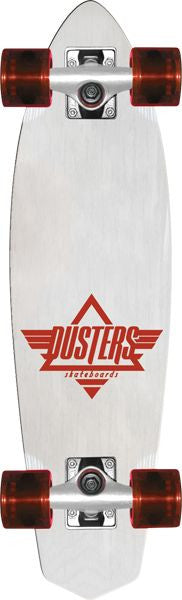 Dusters Ace Cruiser - White/Red - 6.5in x 24in - Complete Skateboard