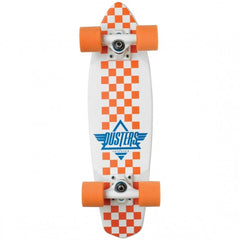 Dusters Ace Cruiser - White/Orange Checker - 6.5in x 24in - Complete Skateboard