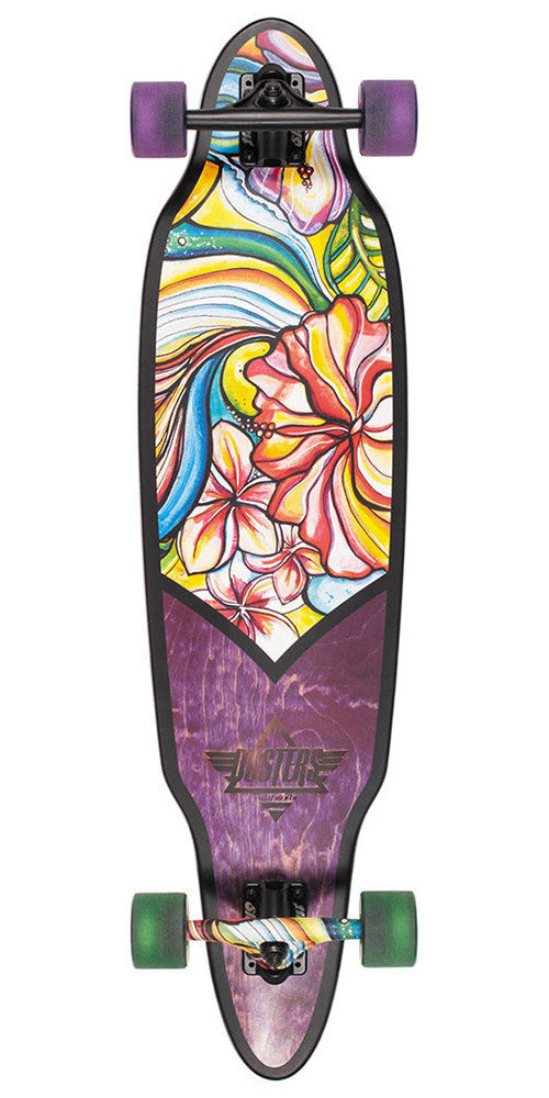 Dusters Flora Longboard Cruiser - Purple/Green - 37.5in - Complete Skateboard