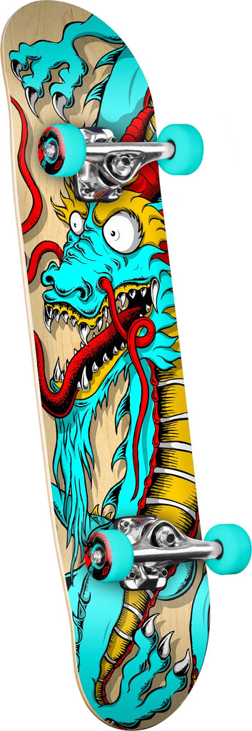 Powell-Peralta Golden Dragon Cab Art Dragon 2 - Natural/Teal - 8.0 - Complete Skateboard