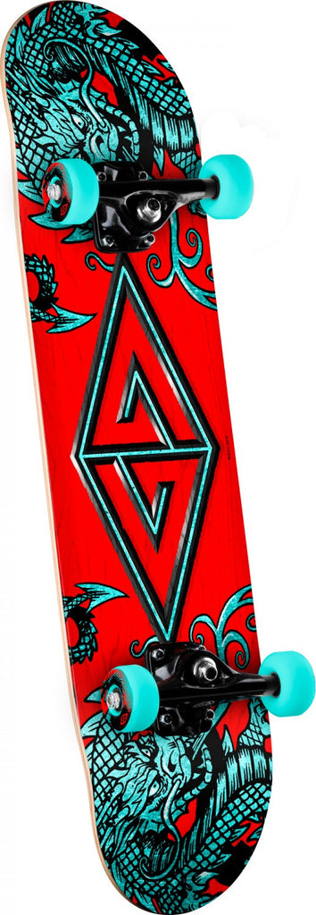 Powell-Peralta Two Dragons 2 - Teal/Red - 7.88in x 31.67in - Complete Skateboard