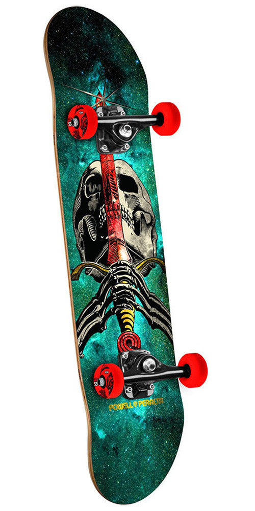 Powell Peralta Skull and Sword - Cosmic Green - 7.5in x 31.375in - Complete Skateboard