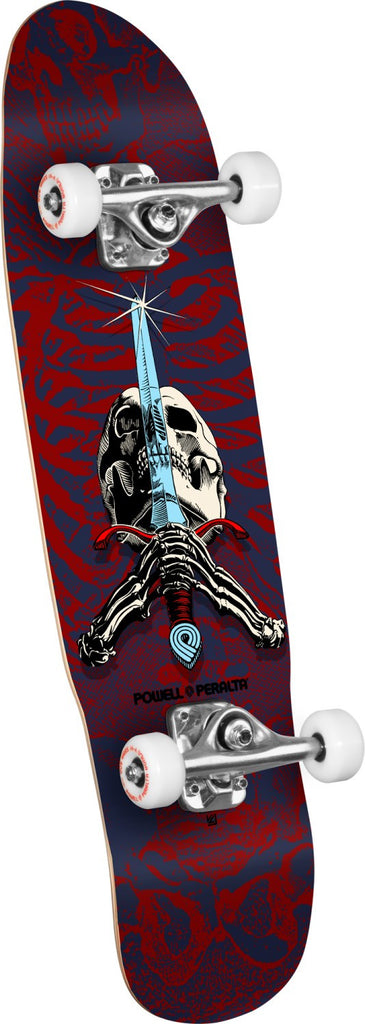 Powell Peralta Mini Skull & Sword - Red/Blue - 8.0in x 30.0in - Complete Skateboard