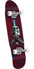 Powell Peralta Mini Skull and Sword  - Blue/Red - 8.00in x 30.00in - Complete Skateboard