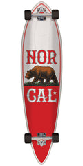 Nor Cal True Republic Pintail - White/Red - 9.58in x 39.0in - Complete Skateboard