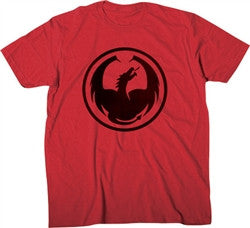 Dragon Watermark Icon T-Shirt - Red - Mens T-Shirt