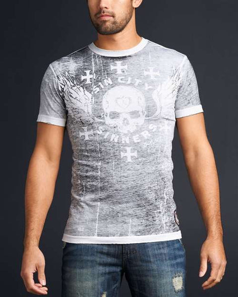 Affliction Born To Lose SS - White - Mens T-Shirt