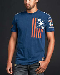 Affliction ACMC Flag SS Crewneck Tee - Navy - Mens T-Shirt