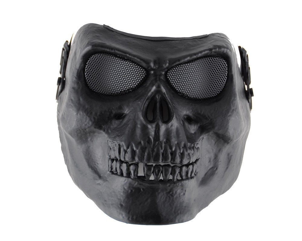 Full Skull Airsoft Mask - Mesh Goggles - Black