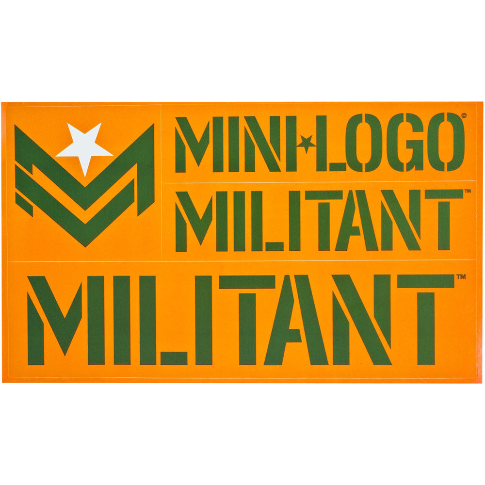 Mini Logo Militant - Army/Orange - Sticker