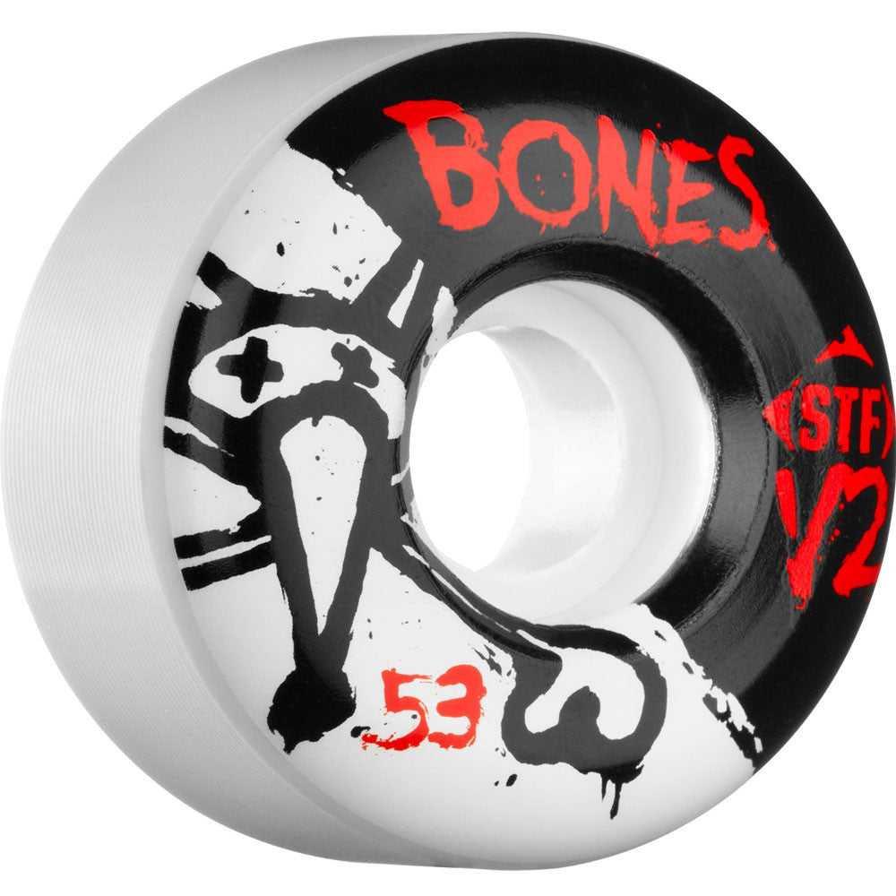 Bones STF V2 Series - White - 53mm 83b - Skateboard Wheels (Set of 4)
