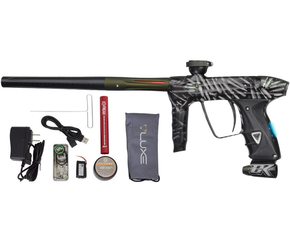 DLX Luxe 2.0 OLED Paintball Gun - Laser Engraved Bullets - Dust Black/Dust Olive