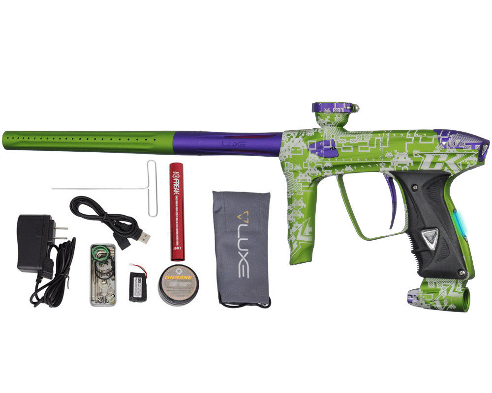 DLX Luxe 2.0 OLED Paintball Gun - Laser Engraved Space Invaders - Dust Slime/Dust Purple