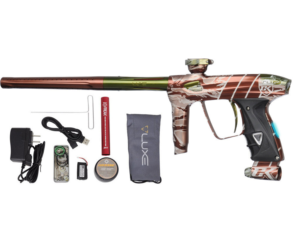 DLX Luxe 2.0 OLED Paintball Gun - Laser Engraved Tiger Camo - Brown/Olive