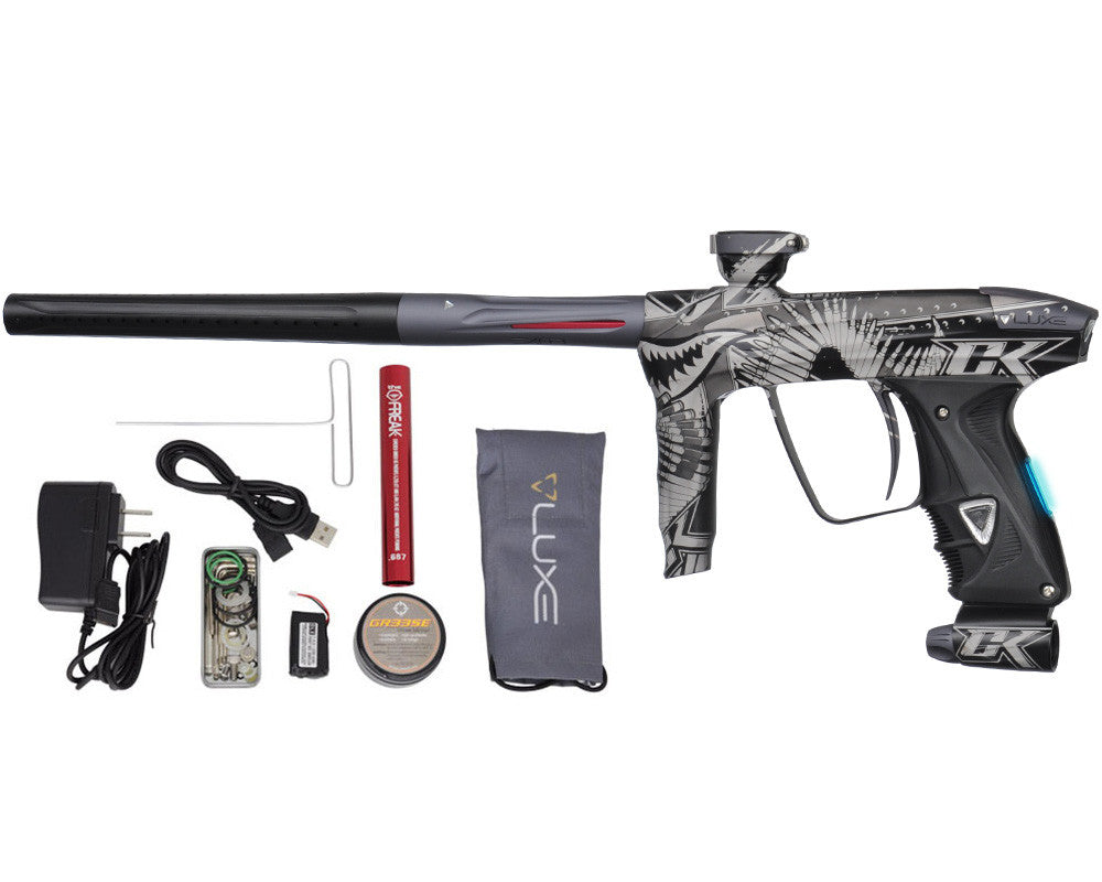 DLX Luxe 2.0 OLED Paintball Gun - Laser Engraved Tiger Shark - Dust Black/Dust Titanium
