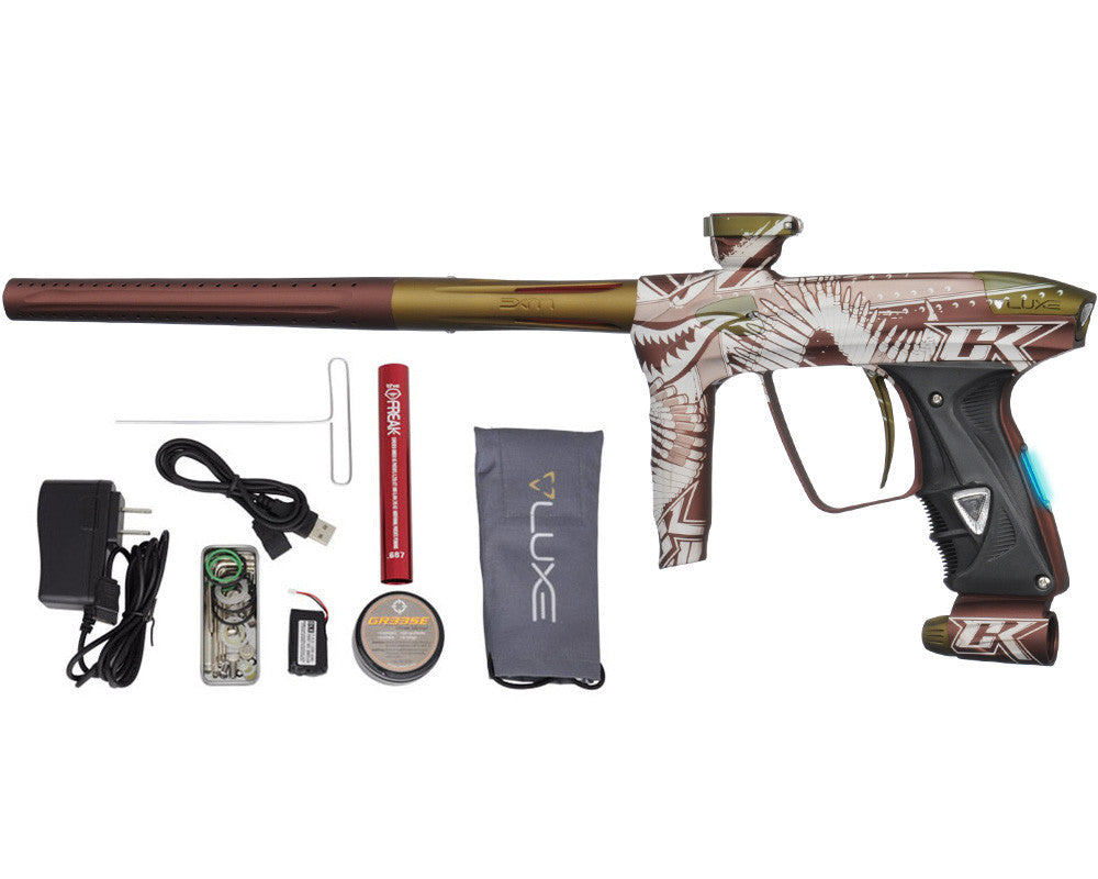 DLX Luxe 2.0 OLED Paintball Gun - Laser Engraved Tiger Shark - Dust Brown/Dust Olive