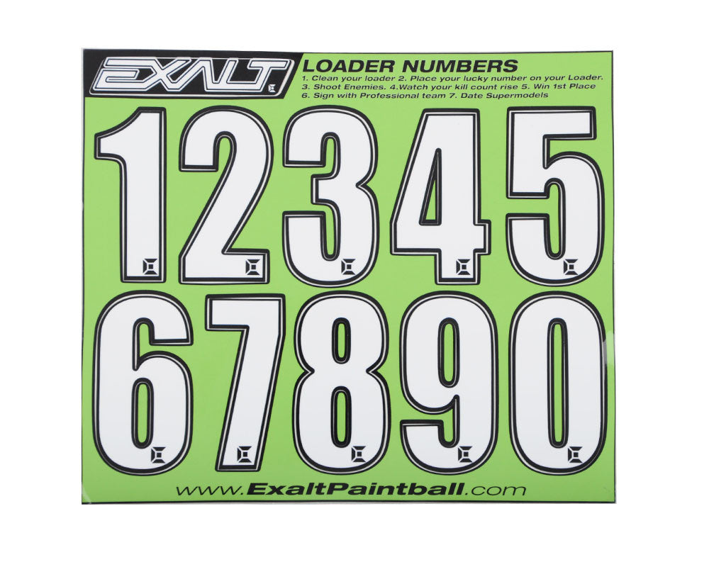 Exalt Loader Number Sticker Sheet - White