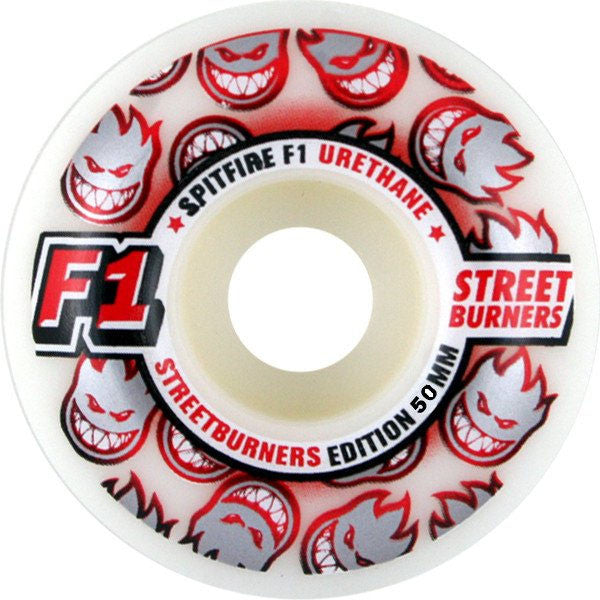 Spitfire F1 Street Burner - White - 50mm - Skateboard Wheels (Set of 4)