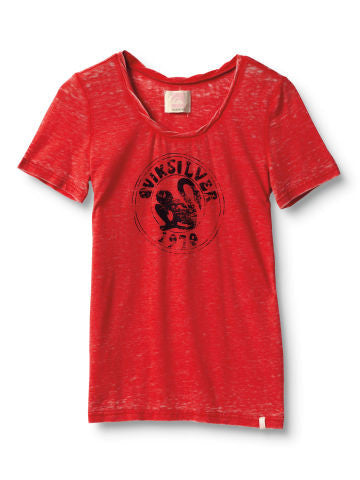 Quiksilver Swan Stamp Crew Tee - Red - Womens Shirt