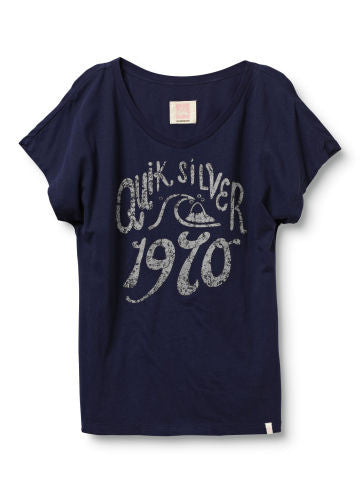 Quiksilver Old School 1970 V-Neck Tee - Blue - Womens Shirt