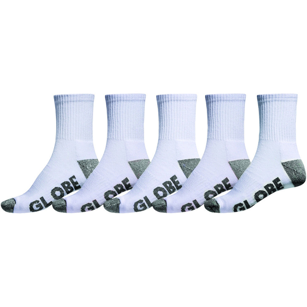 Globe Marle Crew Sock - White/Black - Men's Socks (5 Pairs)