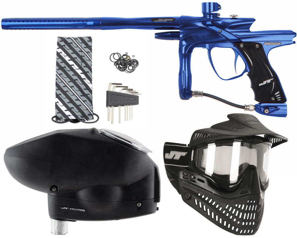 JT Impulse Paintball Gun w/ Free JT Proflex Mask & Evlution Loader - Blue/Blue