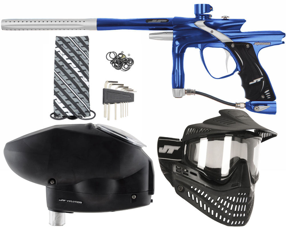 JT Impulse Paintball Gun w/ Free JT Proflex Mask & Evlution Loader - Blue/Dust Silver