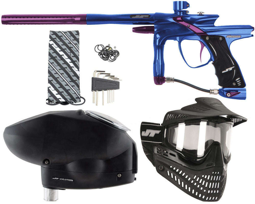 JT Impulse Paintball Gun w/ Free JT Proflex Mask & Evlution Loader - Blue/Eggplant