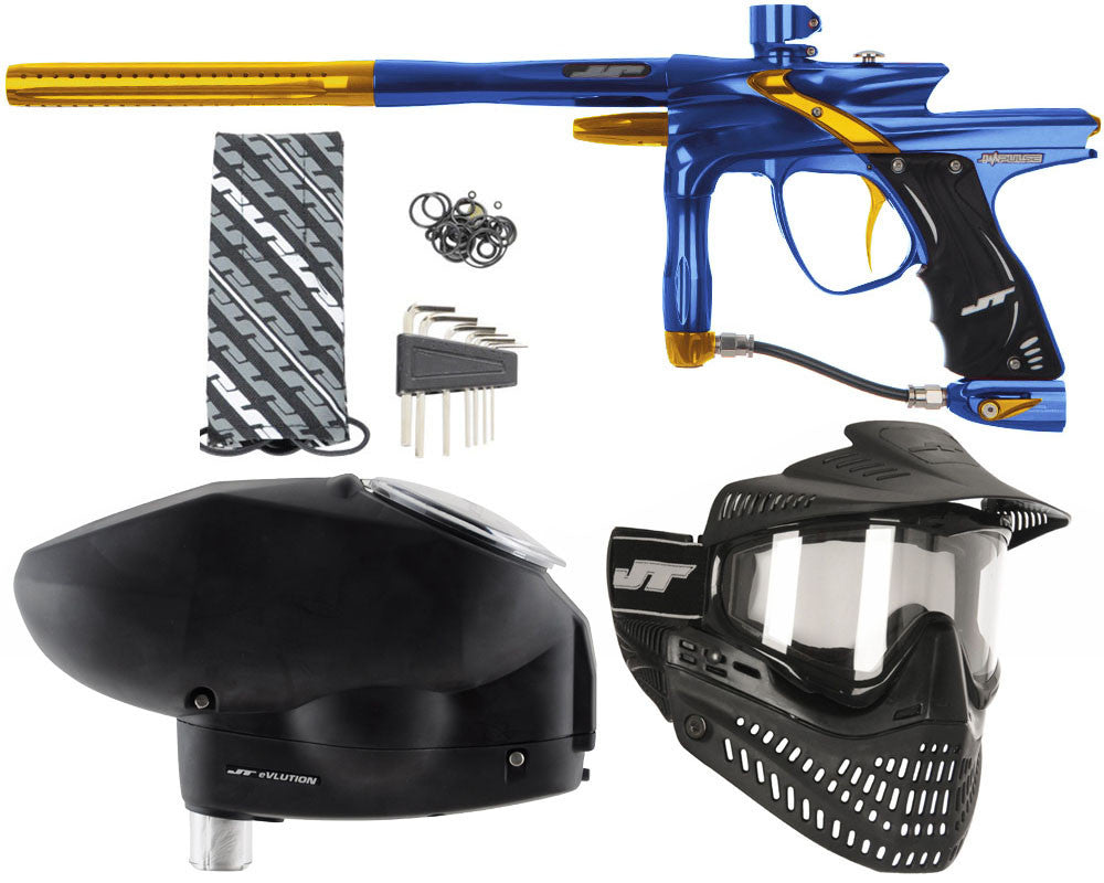 JT Impulse Paintball Gun w/ Free JT Proflex Mask & Evlution Loader - Blue/Gold