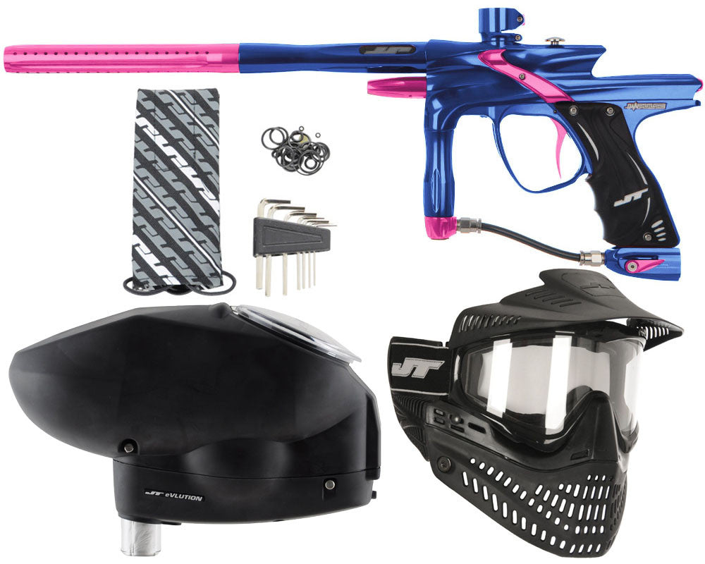 JT Impulse Paintball Gun w/ Free JT Proflex Mask & Evlution Loader - Blue/Pink