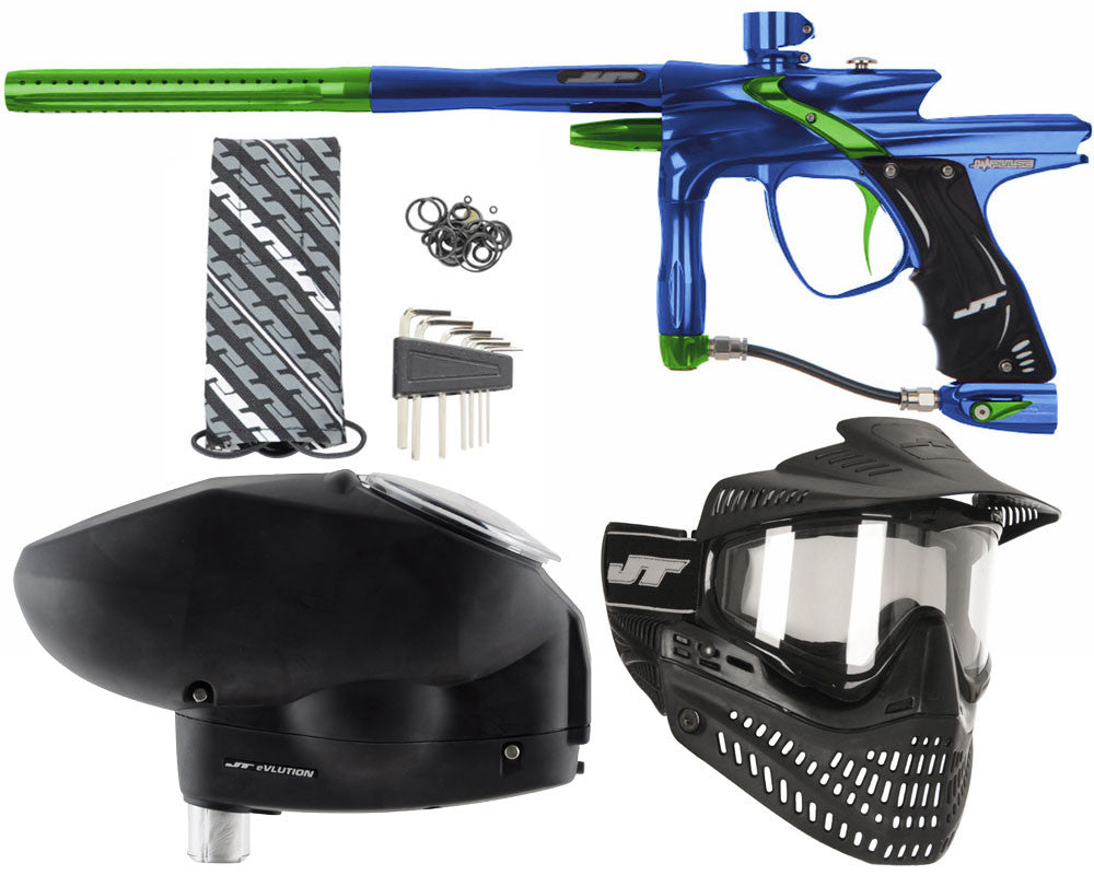 JT Impulse Paintball Gun w/ Free JT Proflex Mask & Evlution Loader - Blue/Slime